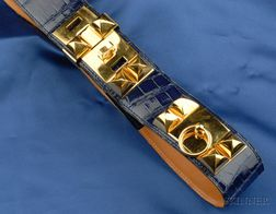 Royal Blue Alligator Belt, Hermes